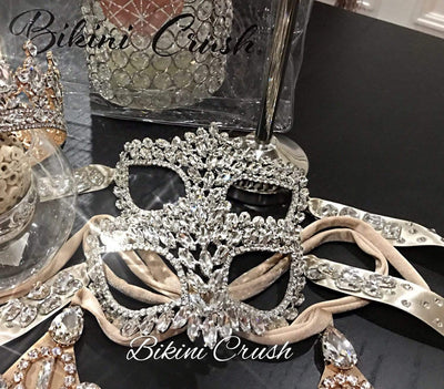 Bikini Crush Swimwear body jewels Champange / Crystal / Silver Masquerade (Mask)