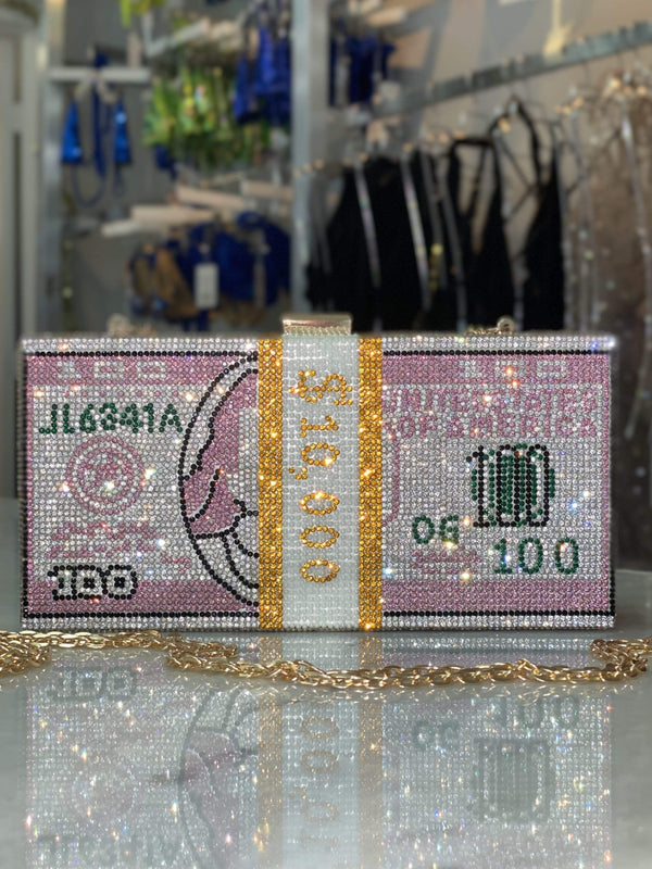 Bikini Crush Swimwear Rhinestone Money Pink / One Size / Final Sale Dinero Handbag Pink