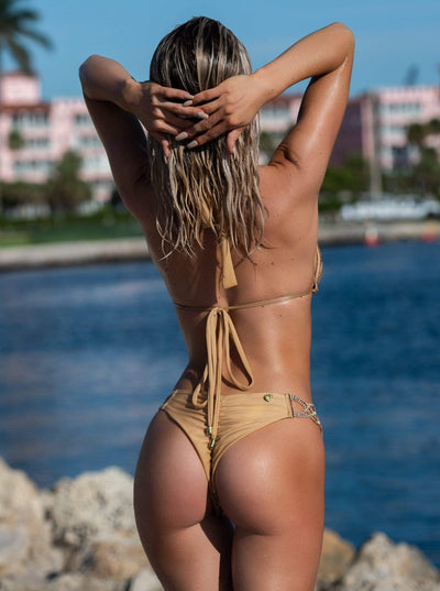 Bikini Crush Swimwear triangle two piece GOLD/NUDE / S Belle Quick Ship Bottom