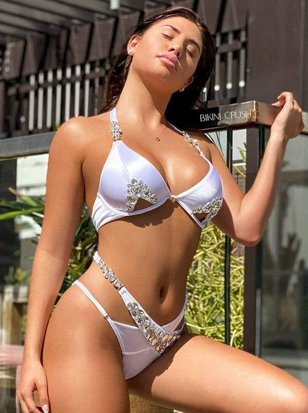 Bikini Crush Swimwear Two Piece White Satin / S / Final Sale Gia // Top (Black Label)