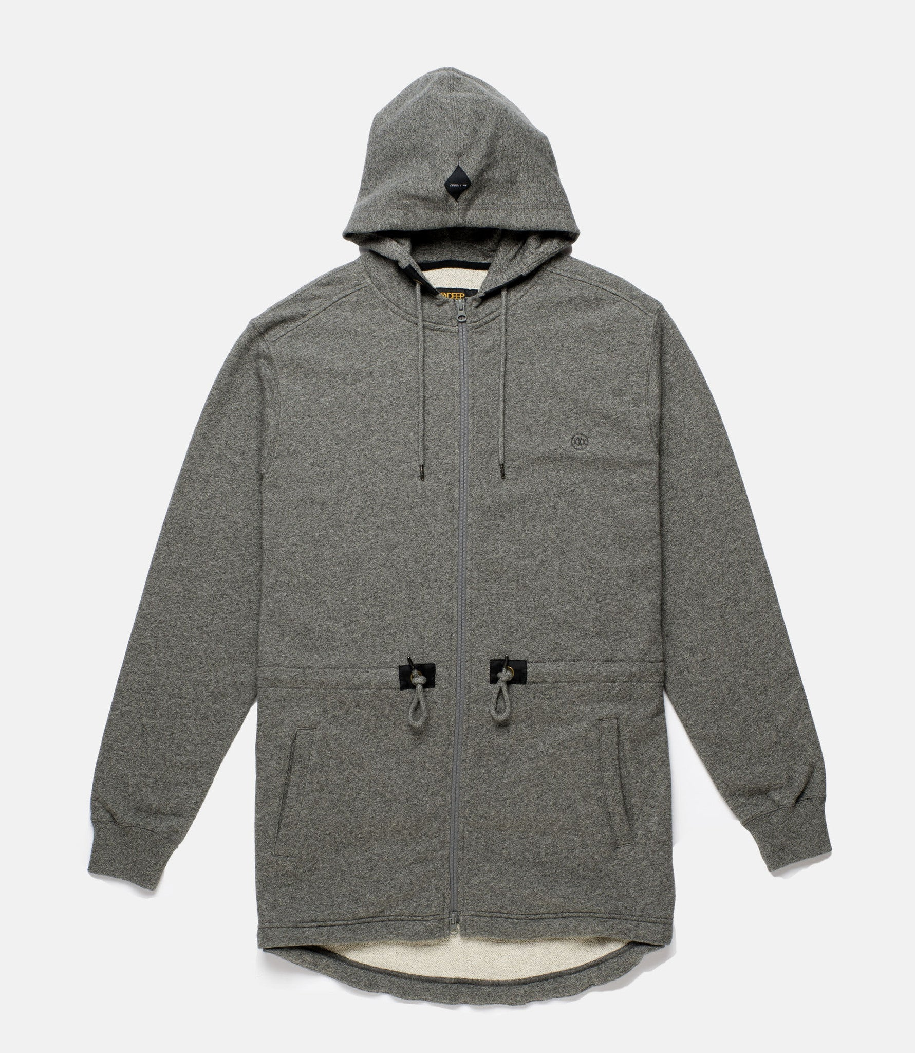 10Deep - Scooptail Men's Fleece Parka, Grey Marl - The Giant Peach