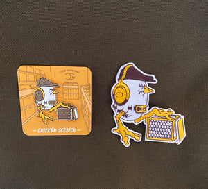 DJ Chicken George - Chicken Scratch Pin + Patch Bundle