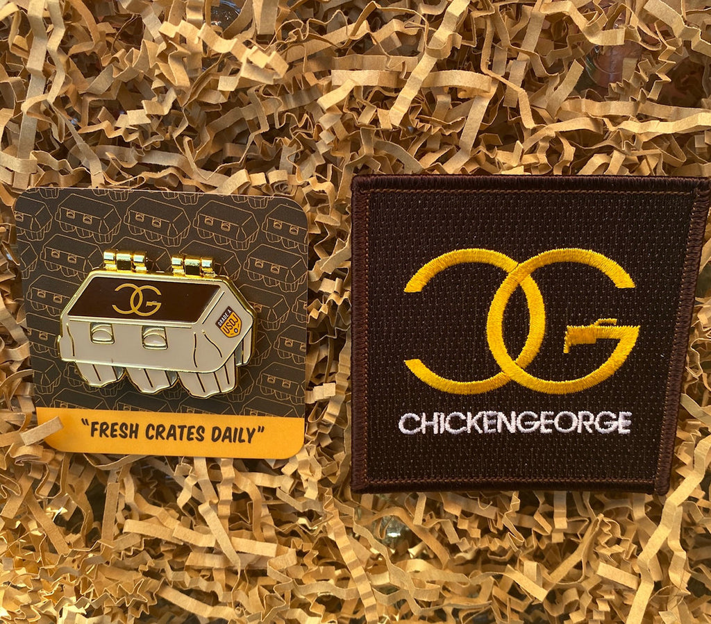 DJ Chicken George - Fresh Crates Daily Pin + Patch Bundle