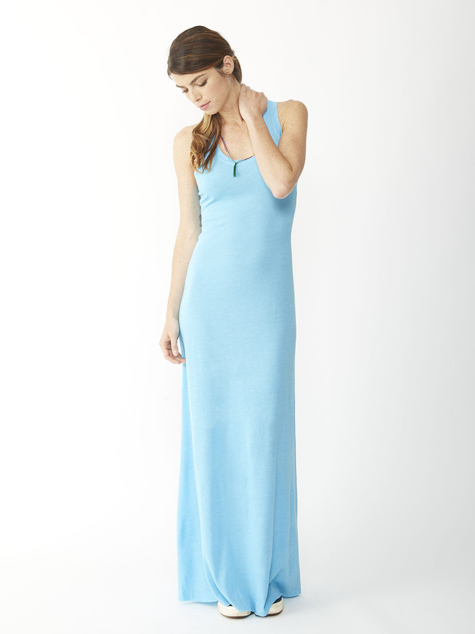 Alternative Apparel - Eco-Jersey Maxi Dress, Eco True Aquarius Blue - The Giant Peach - 1