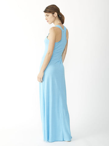 Alternative Apparel - Eco-Jersey Maxi Dress, Eco True Aquarius Blue