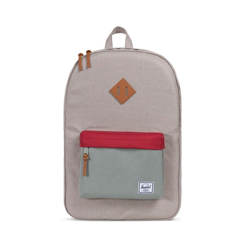 Herschel Supply Co. - Heritage Backpack, Light Khaki Crosshatch/Shadow/Brick Red/Tan