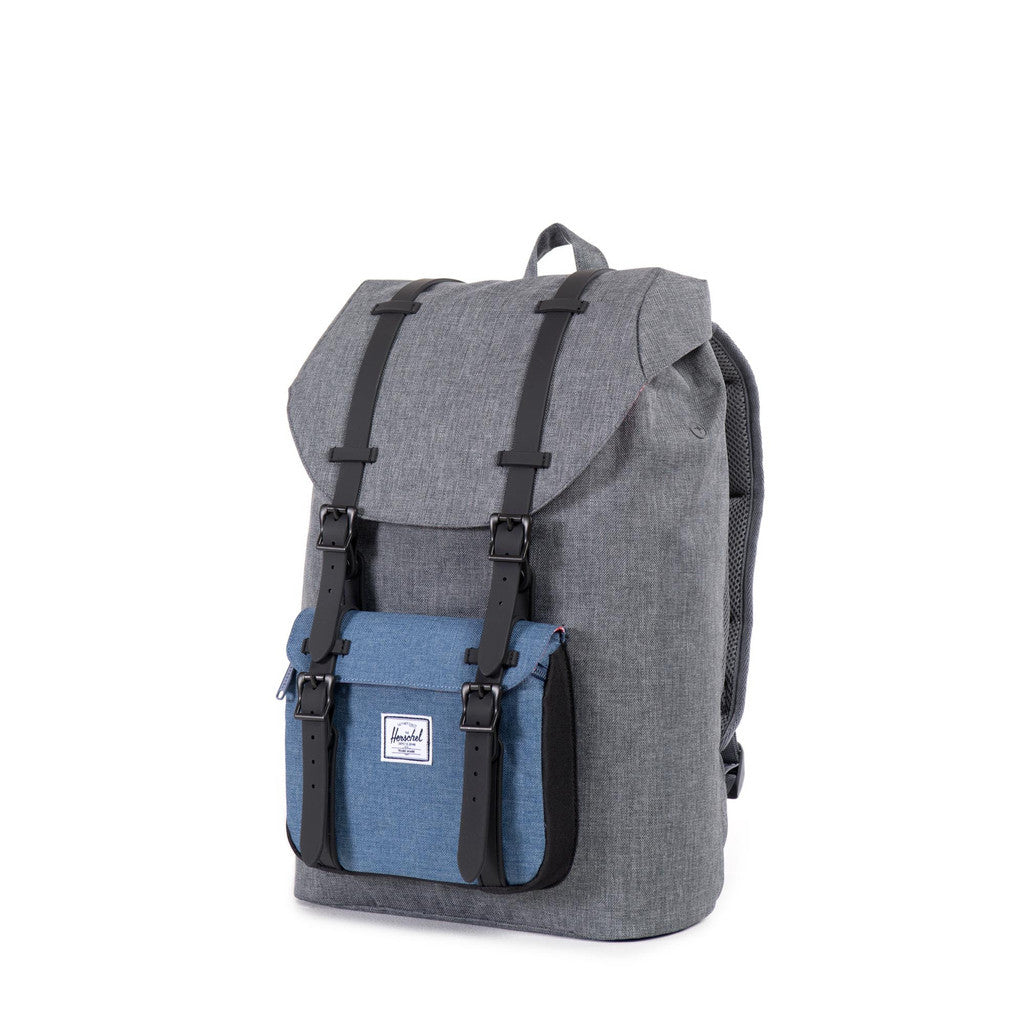 Herschel Supply Co. - Little America Backpack, Crosshatch Charcoal Navy Black Rubber - The Giant Peach