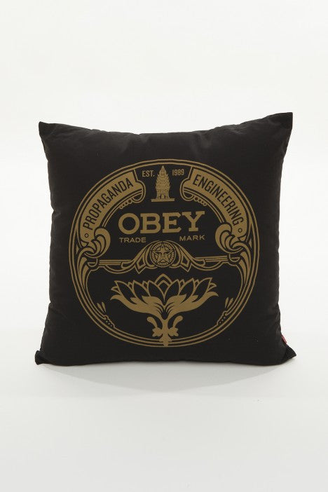 OBEY - Lotus Badge Pillow, Black - The Giant Peach