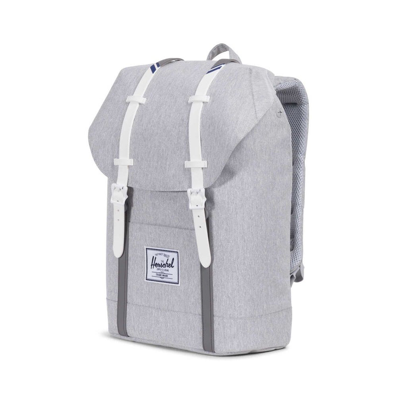 Herschel Supply Co. - Retreat Backpack, Light Grey/Crosshatch/White/Blueprint Stripe - The Giant Peach