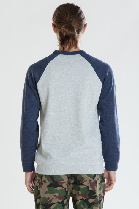 OBEY - Courtside Men's Crewneck, Ash Grey/Navy - The Giant Peach