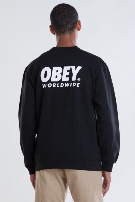 OBEY - Worldwide Family Men's Crewneck Sweatshirt, Black - The Giant Peach - 1