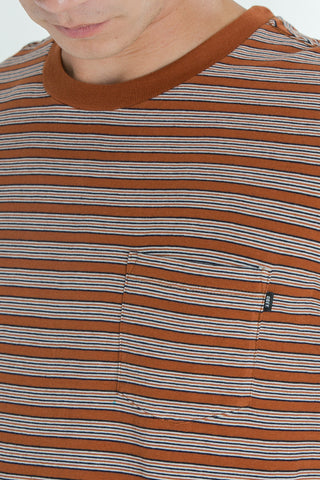 OBEY - County Men's Pocket Tee, Burnt Sienna Multi