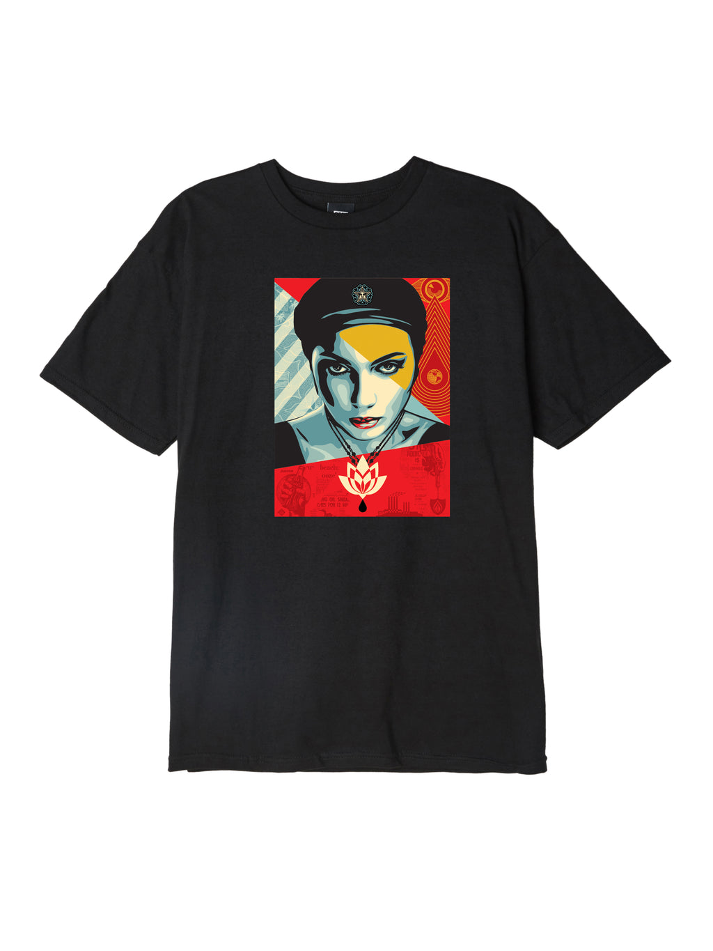 OBEY - Oil Lotus Woman Men's Tee, Black