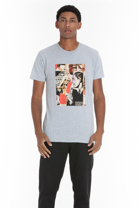 OBEY - Post No Bills Premium Men's Shirt, Heather Grey - The Giant Peach
