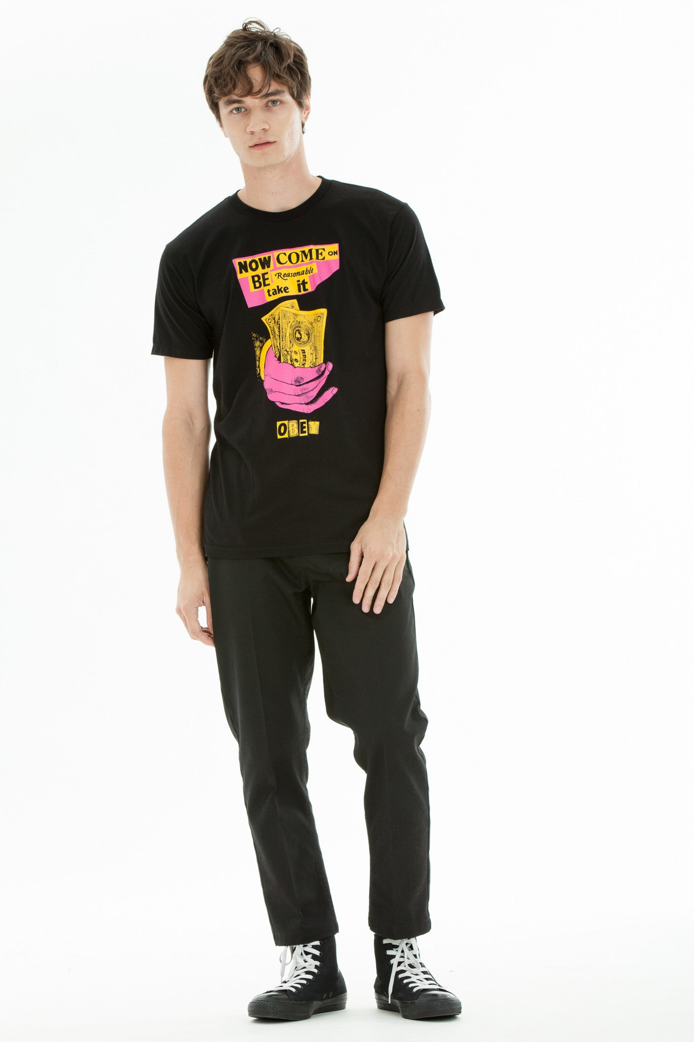 OBEY x Jamie Reid - Be Reasonable Men's Shirt, Black - The Giant Peach