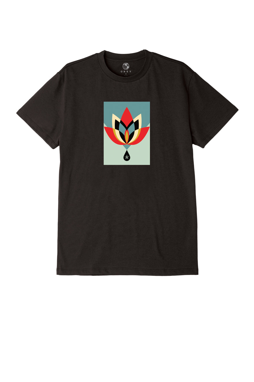OBEY - Geometric Flower Men's Recycled Tee, Black