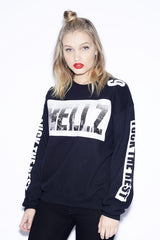 HELLZ - HBNY Women's Crewneck Sweater, Black - The Giant Peach - 1