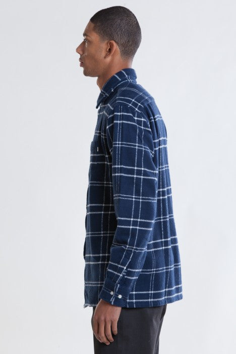 OBEY - Colden Woven L/S Men's Flannel, Navy - The Giant Peach