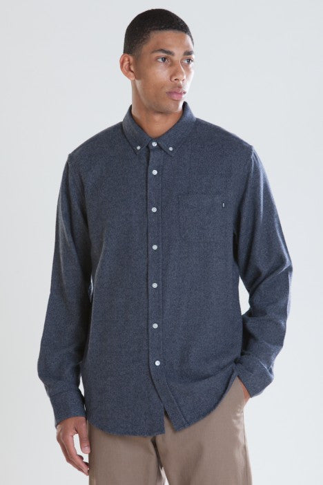 OBEY - Eligh Men's Flannel Button Up Shirt, Navy - The Giant Peach