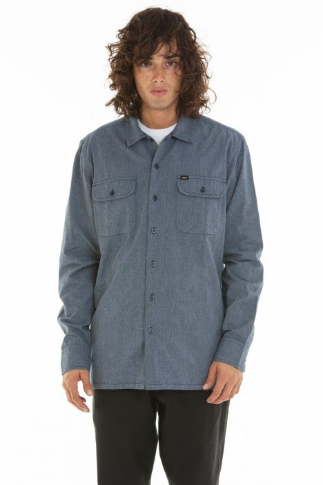 OBEY - Hillstone Men's Woven Button Up Shirt, Navy - The Giant Peach