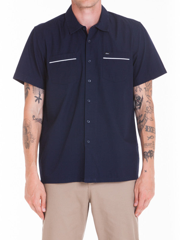 OBEY - Wicker Woven S/S Men's Shirt, Navy - The Giant Peach - 1