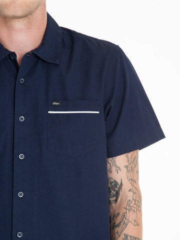 OBEY - Wicker Woven S/S Men's Shirt, Navy