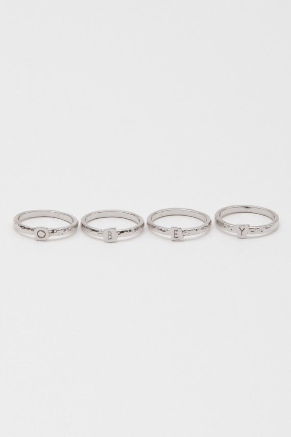 OBEY - Logo Stack Rings, Rhodium - The Giant Peach