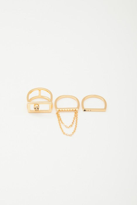 OBEY - Nias Stackable Rings, Gold - The Giant Peach - 1
