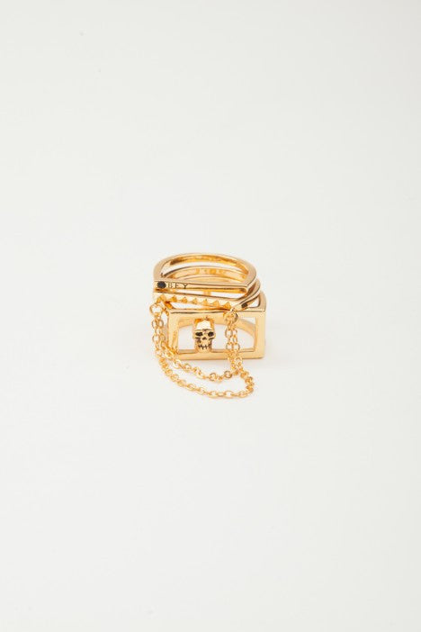 OBEY - Nias Stackable Rings, Gold - The Giant Peach