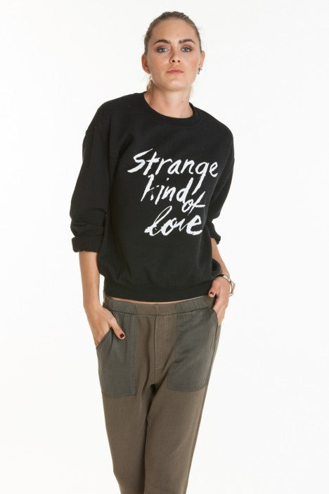 OBEY - Strange Kind Of Love Women's Throwback Fleece, Black - The Giant Peach - 1