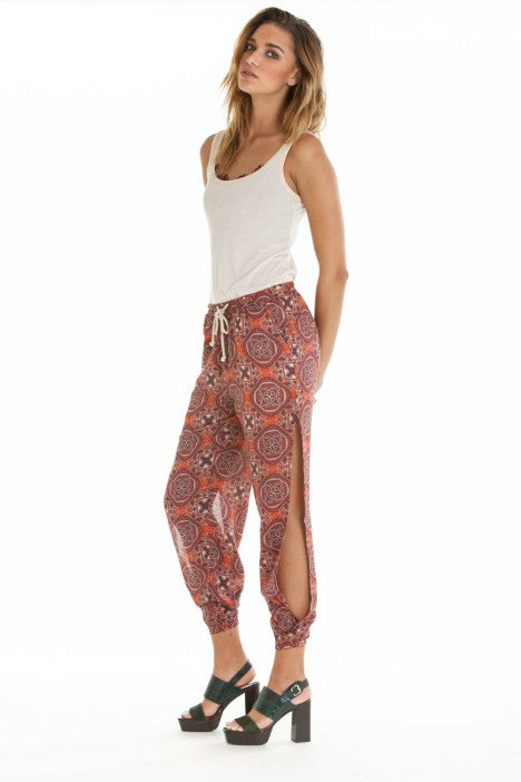 OBEY - Sofia Women's Pants, Burgundy Multi - The Giant Peach - 4