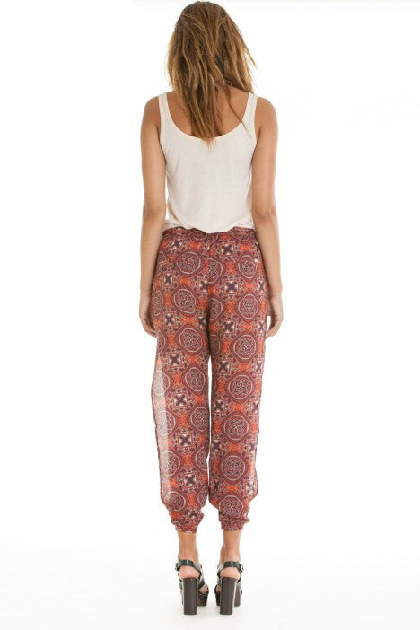 OBEY - Sofia Women's Pants, Burgundy Multi - The Giant Peach - 2