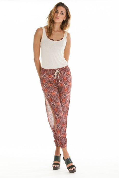 OBEY - Sofia Women's Pants, Burgundy Multi - The Giant Peach