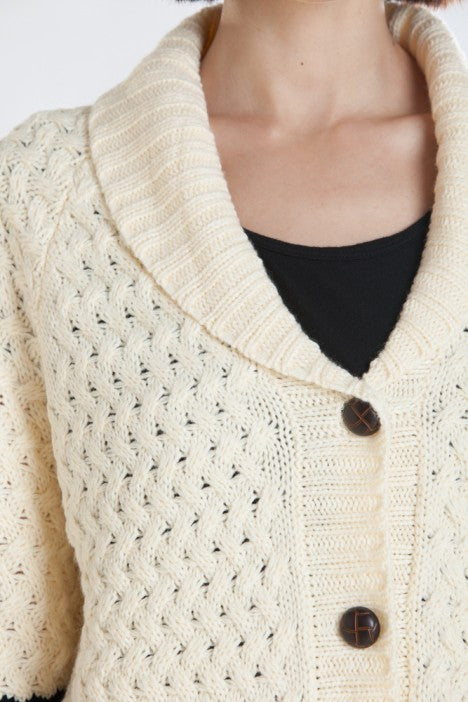 OBEY - Hyde Women's Cardigan Sweater, Cream/ Black - The Giant Peach