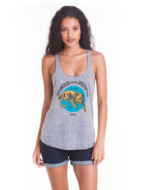OBEY - Power To The People Panther Women's Tank, Heather Grey - The Giant Peach