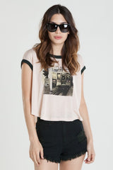OBEY - Your Signal Women's Sleeveless Top, Pastel Rose Tan/Emerald - The Giant Peach