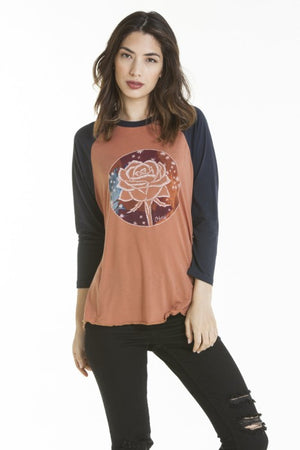 OBEY - Death Plumes Women's Raglan, Copper/Dark Navy - The Giant Peach