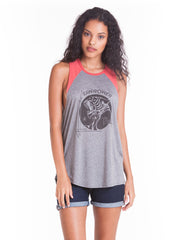OBEY - Raw Power Tiger Women's Cut Off Raglan, Heather Grey/Mineral Red - The Giant Peach