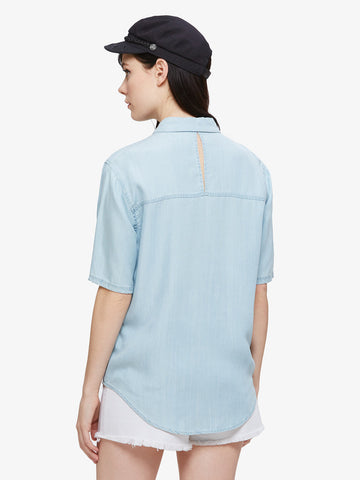 OBEY - St. Gilles Women's Shirt, Chambray