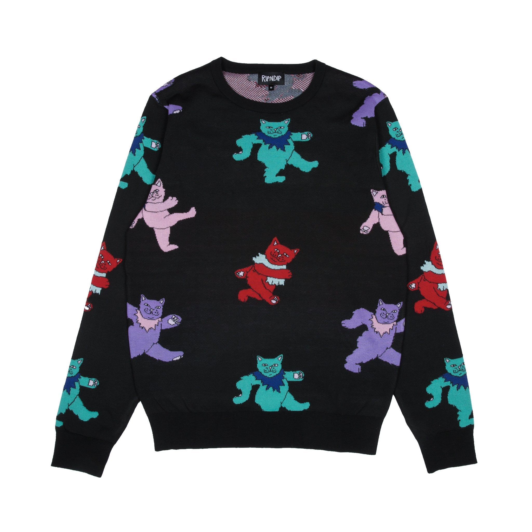 RIPNDIP - Dancing Nerm Men's Knit Sweater, Black - The Giant Peach