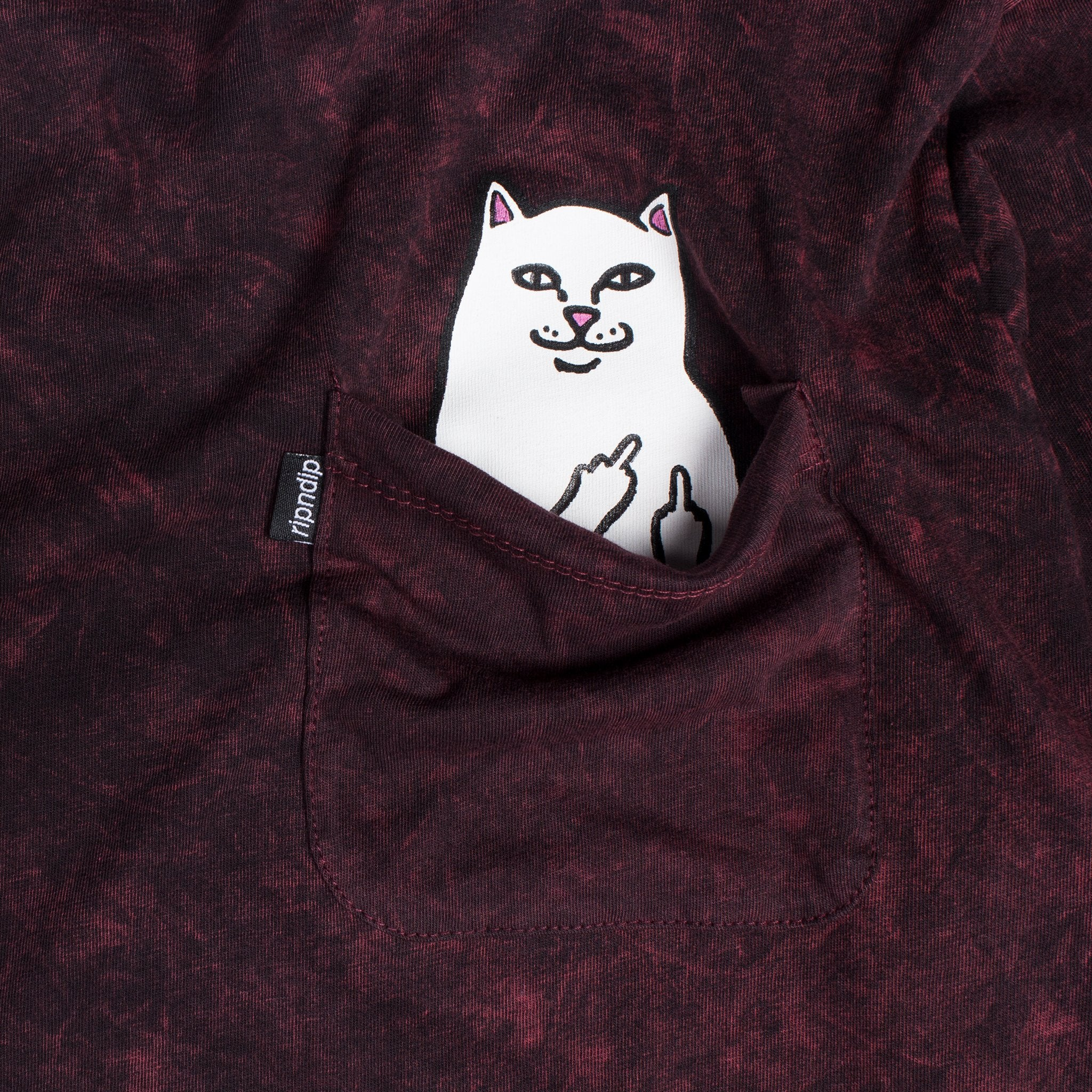 RIPNDIP - Lord Nermal Men's L/S Pocket Tee, Blood Wash - The Giant Peach
