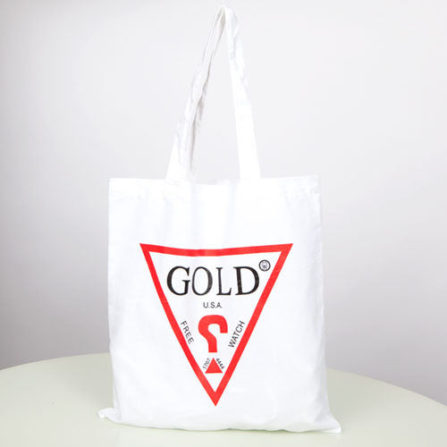 Free Gold Watch - Guess Tote Bag, White - The Giant Peach