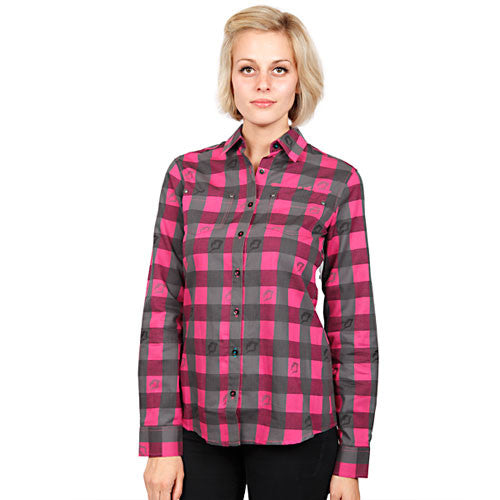 Married to the Mob - Buffalo Gals Buttoned-Down Women's Shirt, Pink - The Giant Peach