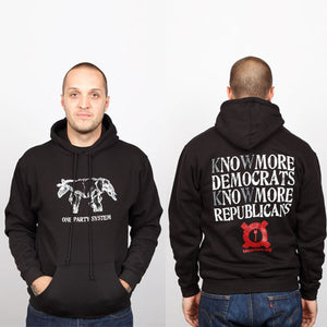 Strange Famous Records - One Party System Men's Hoodie, Black - The Giant Peach