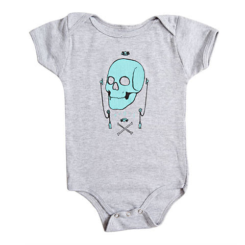 P.O.S. - Glover Skull Infant One Piece, Heather Grey - The Giant Peach
