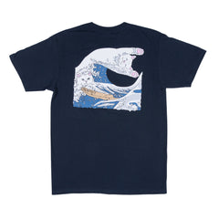 RIPNDIP - Great Wave Men's Tee, Navy Blue - The Giant Peach