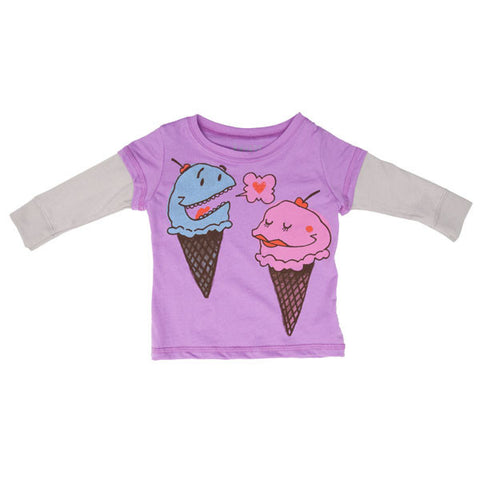 Mini Rotation - Ice Cream Love L/S Infant Twofer Tee, Lavender - The Giant Peach
