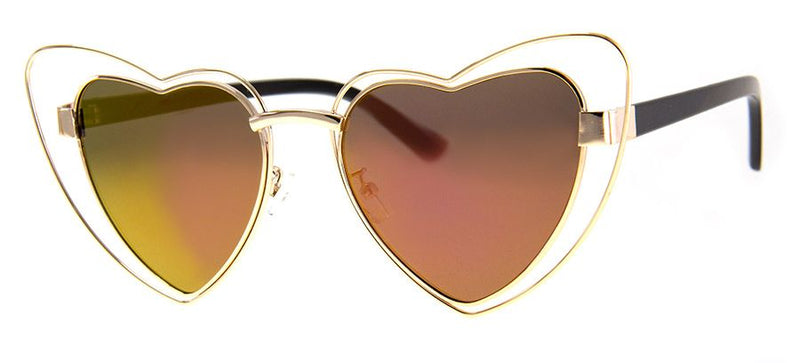 True Heart Sunglasses, Gold/Pink Mirror