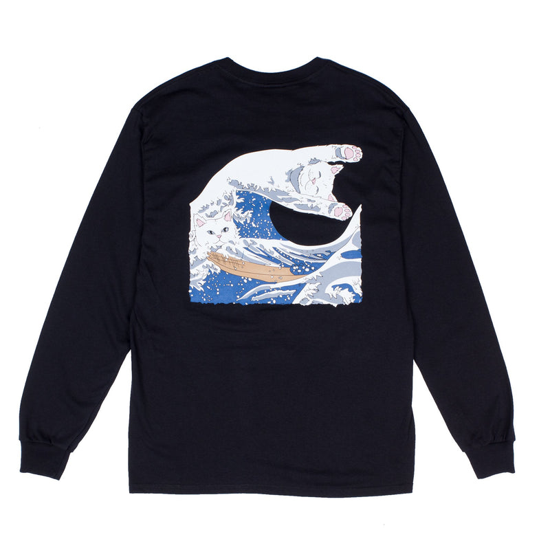 RIPNDIP - The Great Wave of Nerm Men's L/S Tee, Black - The Giant Peach