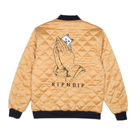 RIPNDIP - Praying For Nermal Men's Quilted Reversible Jacket, Black/Yellow - The Giant Peach